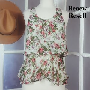 Poetry Sheer Two-Tier Sleeveless Top